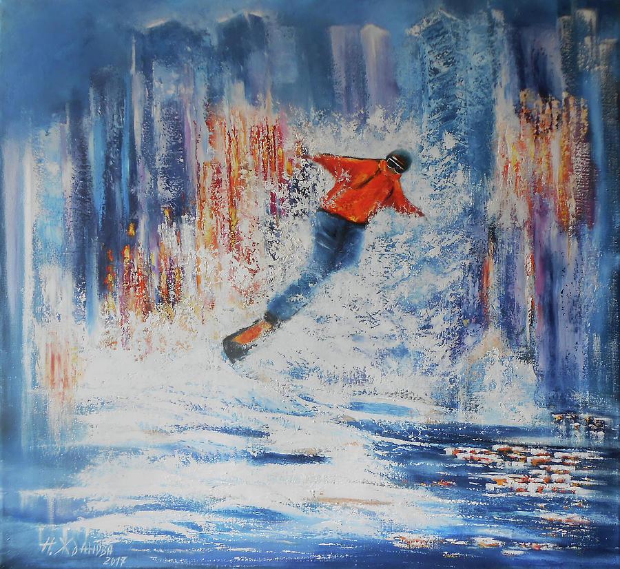 Snowboard Painting Artartists Artwork, Canvas Snowboard Art Design ...