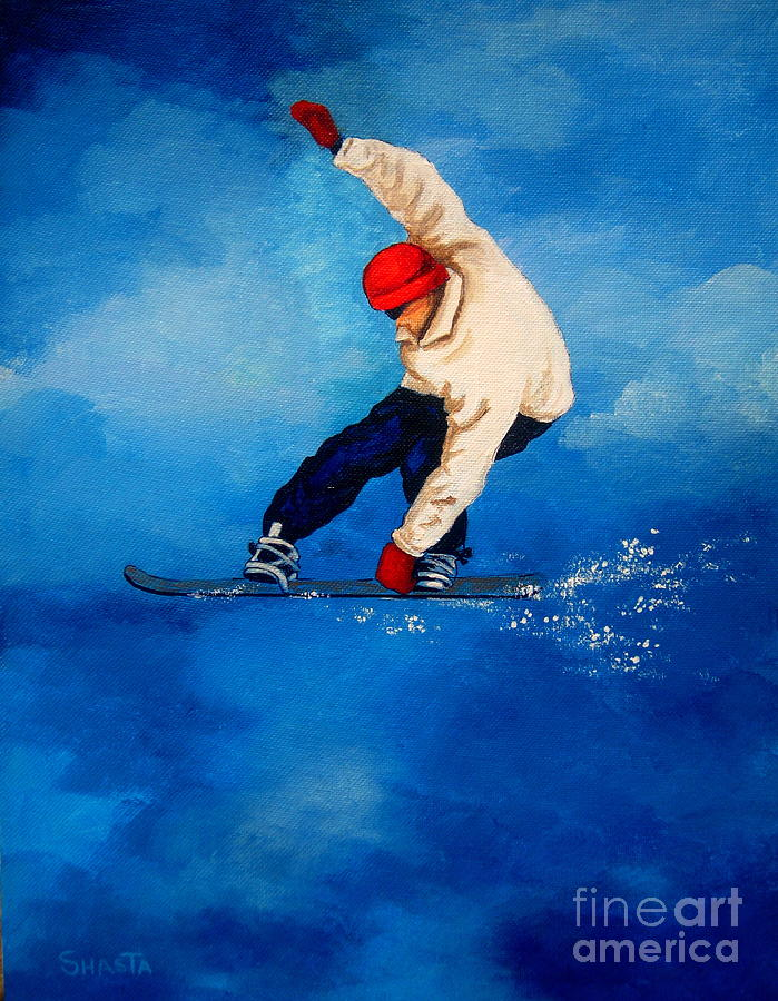 Landscape Painting - Snowboard by Shasta Eone