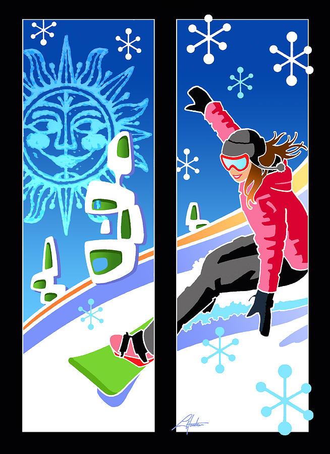 Snowboarder diptych Mid-century Modern by Larry Hunter