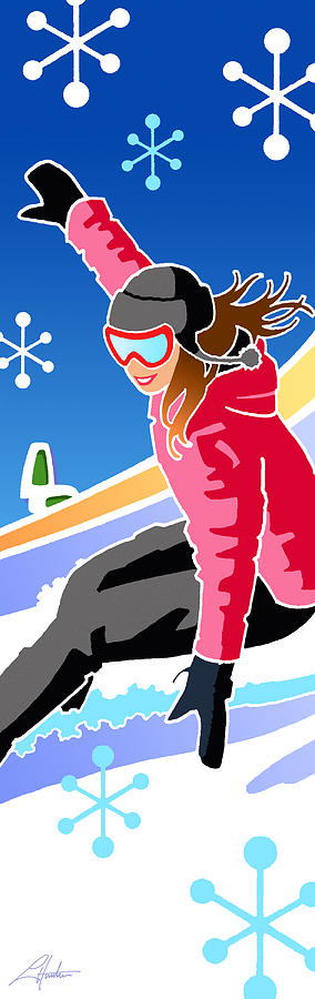 Snowboarder diptych right side by Larry Hunter