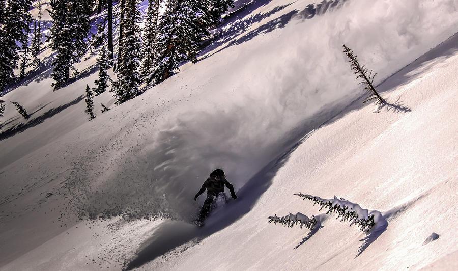 Snowboarder in Fresh Powder by Richard Cheski