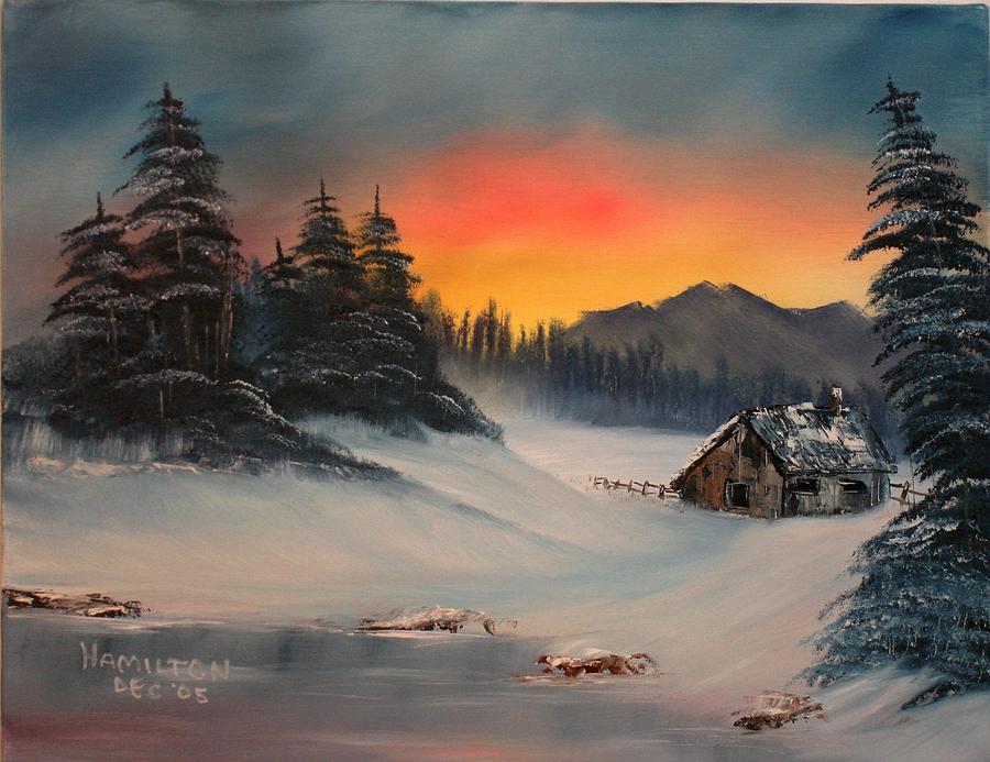 Oil Painting - Snowbound Sunrise by Larry Hamilton