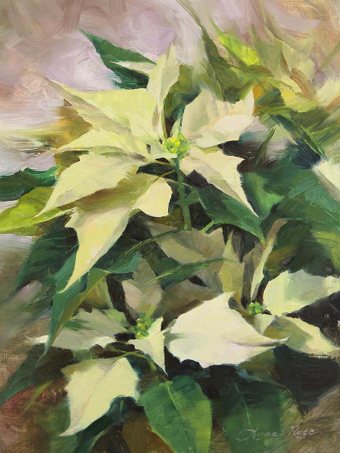 Poinsettia Painting - Snowcap Poinsettia by Anna Rose Bain