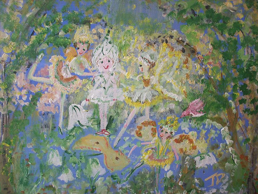 Snowdrop Painting - Snowdrop The Fairy And Friends by Judith Desrosiers