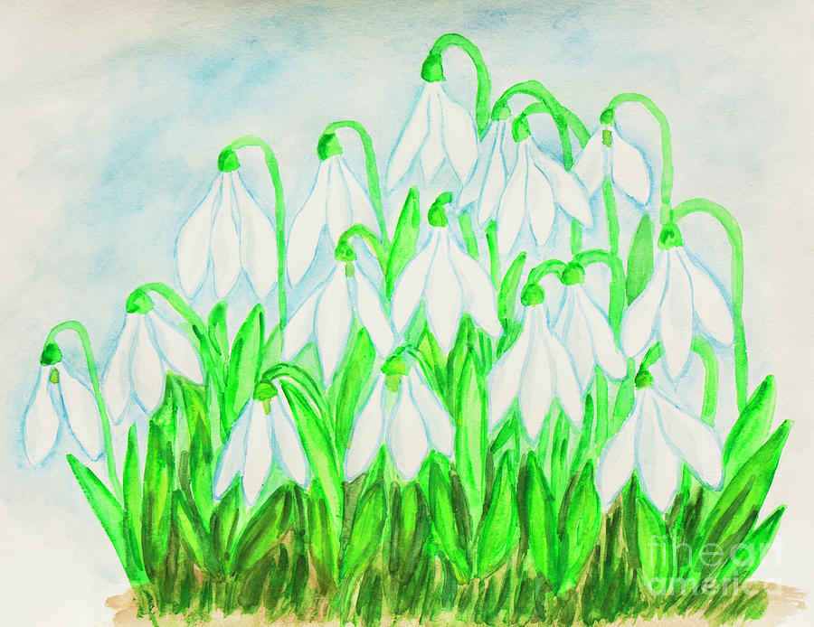 Snowdrops, watercolor painting by Irina Afonskaya