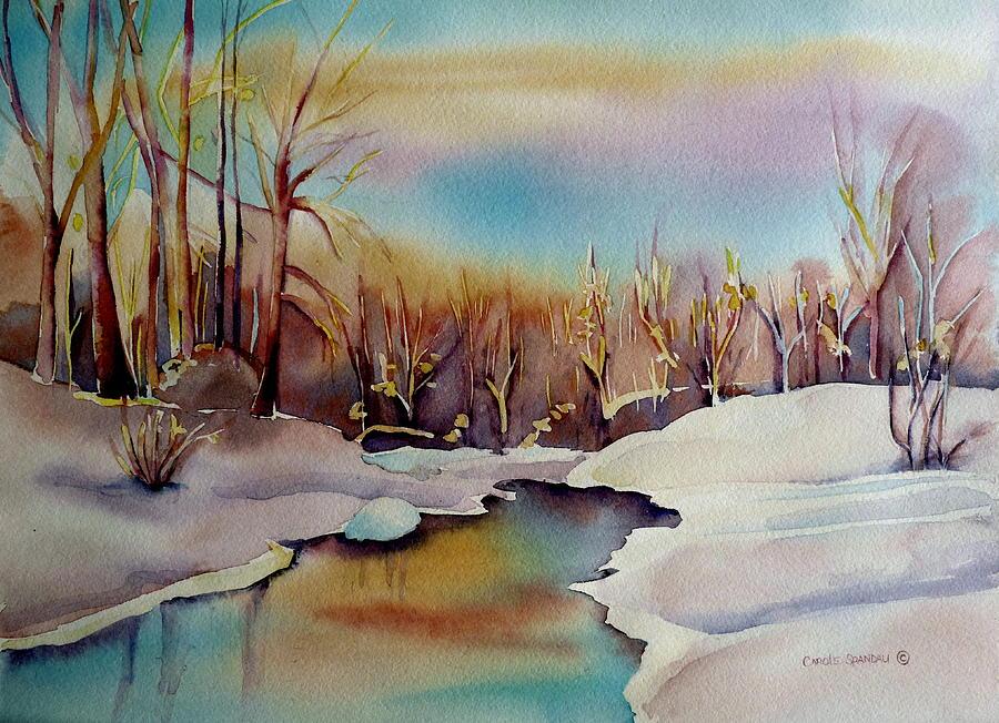 Winterland Painting - Snowfall by Carole Spandau