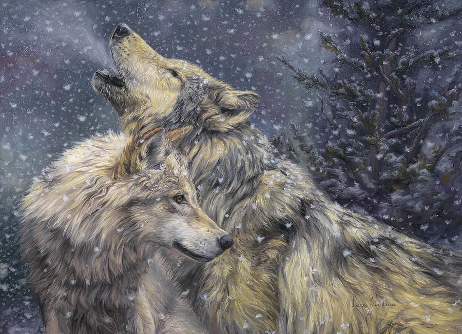 Wolf Painting - Snowfall by Lucie Bilodeau