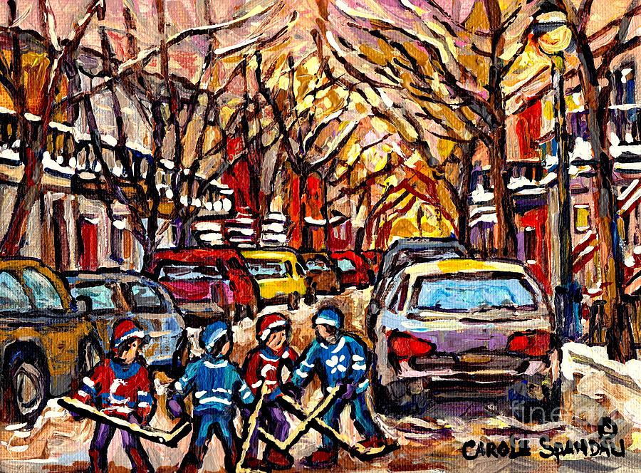 Snowfall montreal memories street hockey art original for Original fine art for sale