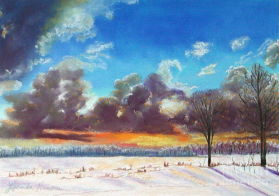 Snow Scene Painting - Snowfield IIi by Lucinda  Hansen