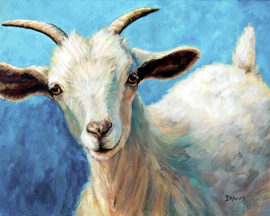 Cashmere Goat Painting - Snowflake, a baby cashmere goat by Dottie Dracos