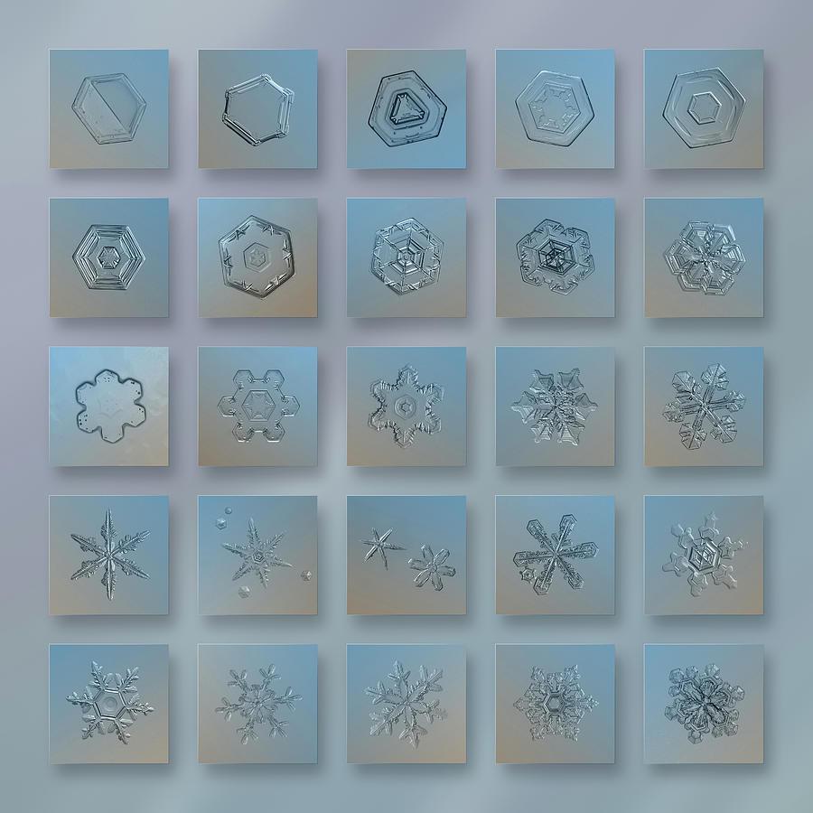 Snowflake Photograph - Snowflake Collage - Season 2013 Bright Crystals by Alexey Kljatov
