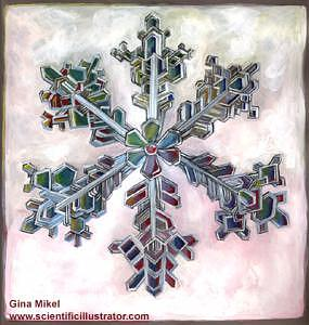 Microscopic Painting - Snowflake by Gina Mikel