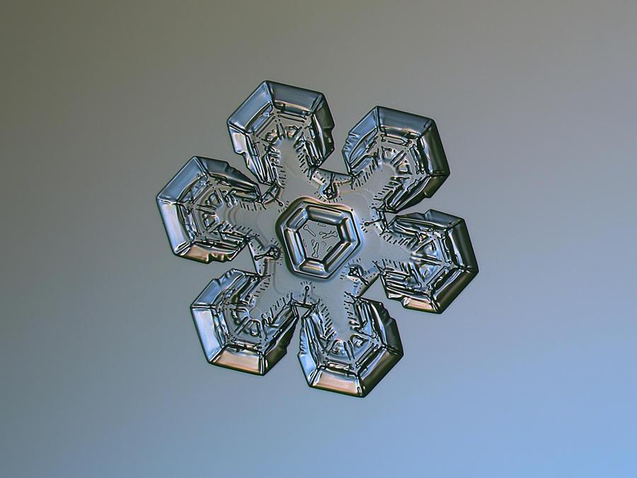 Snowflake Photograph - Snowflake Photo - Massive Silver by Alexey Kljatov