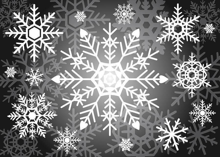 Snowflake Digital Art - Snowflakes Black And White by Kathleen Wong