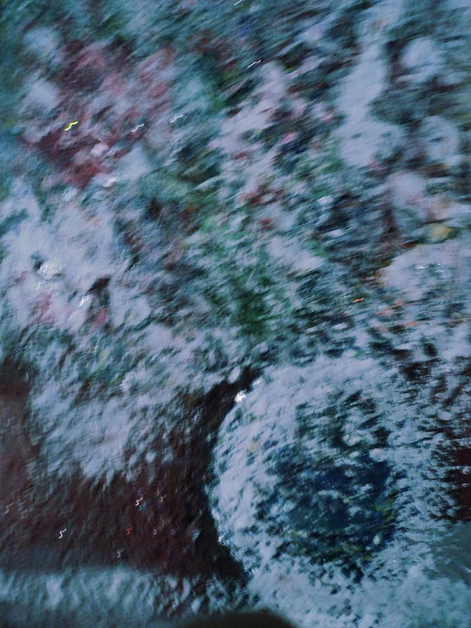 Les Fleurs Painting - Snowglobe Gone Wild Blue by Anne-Elizabeth Whiteway