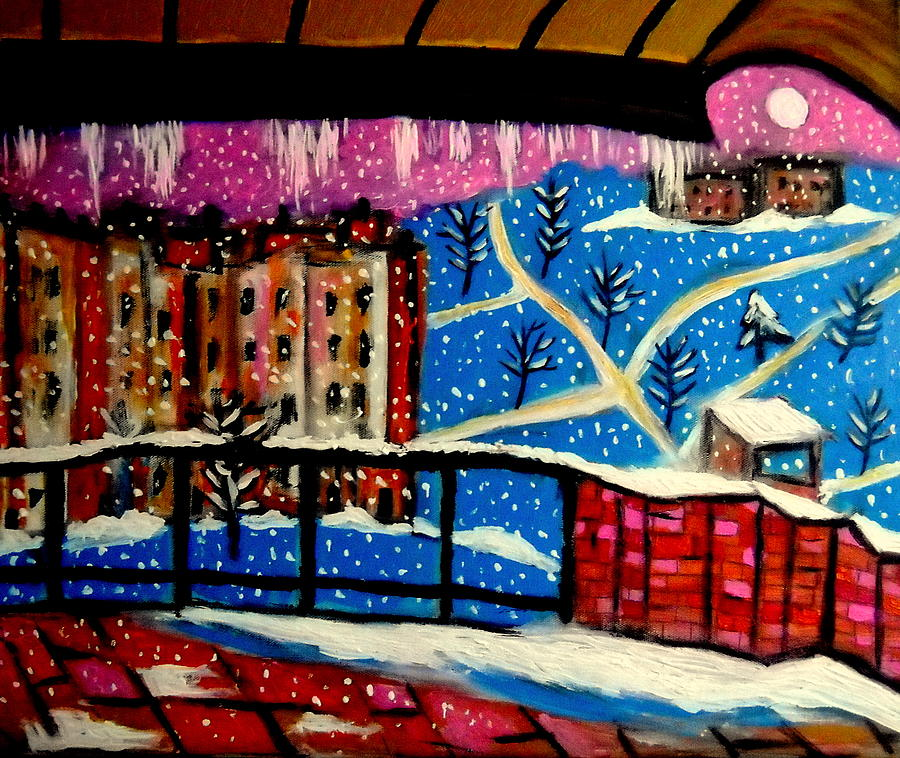 Snowing In Ruda Slaska Painting by Ted Hebbler