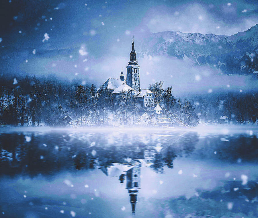 Snowing Over Lake Bled