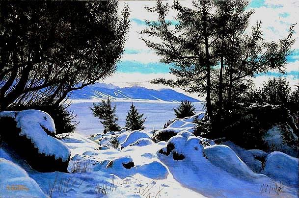 Snow Painting - Snowlight In Montana by Al Feldstein