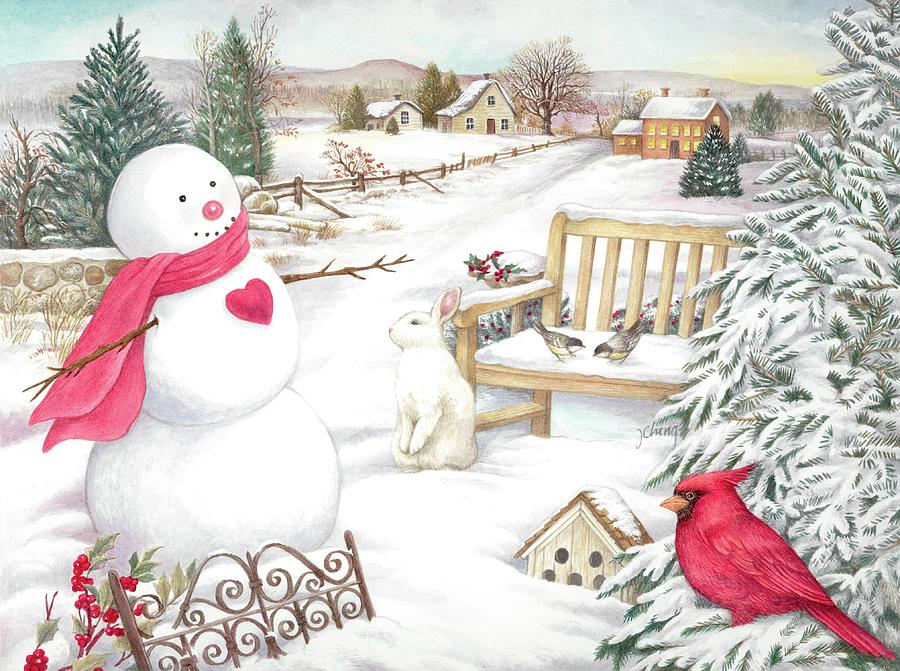 Snowman Cardinal in Winter Garden by Judith Cheng