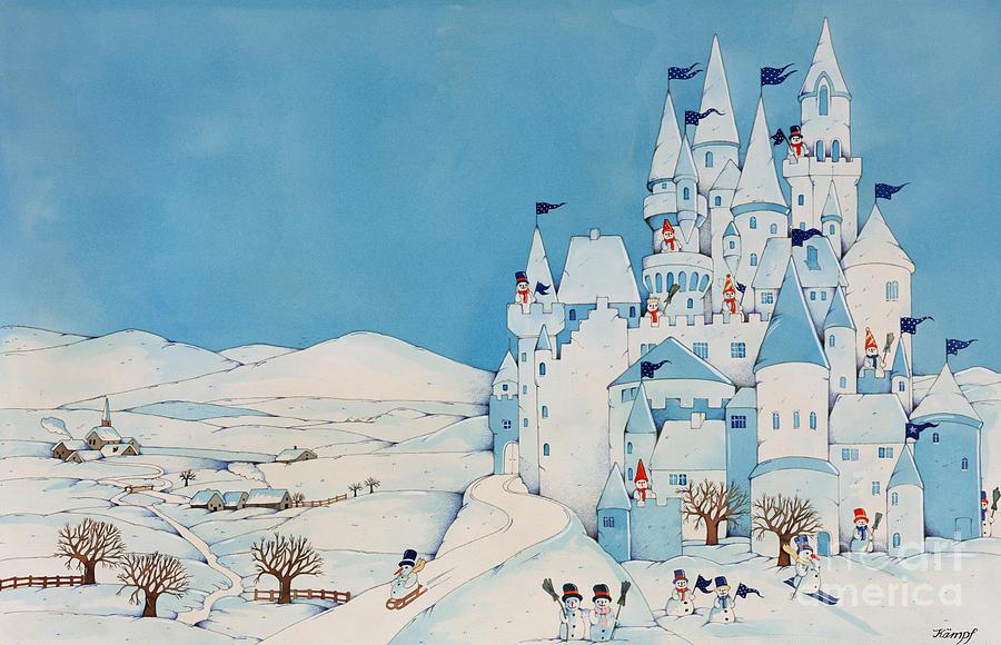 Snowman Castle Painting - Snowman Castle by Christian Kaempf