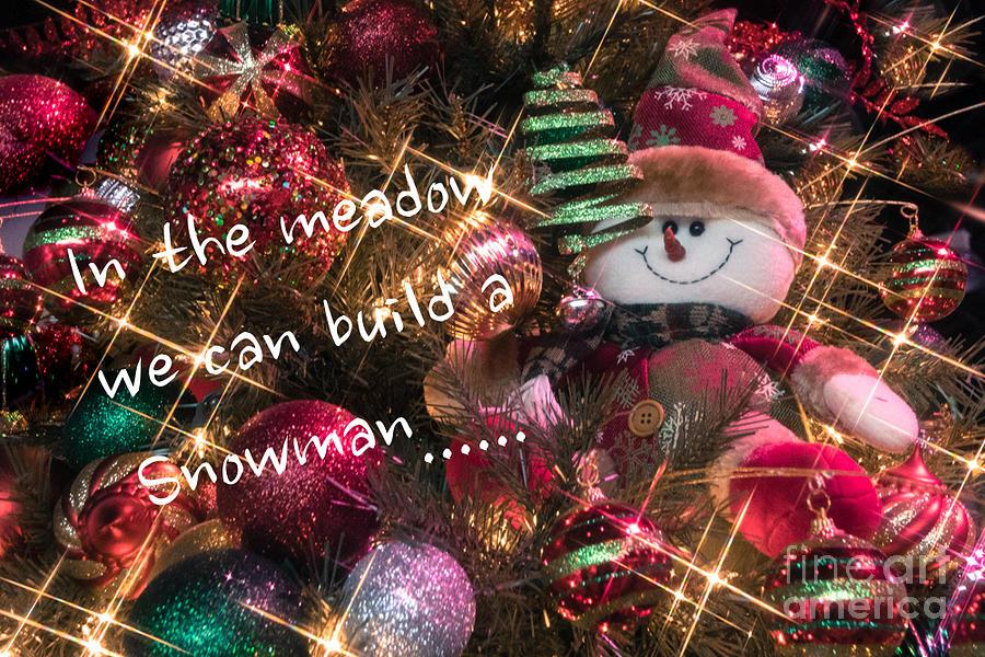 Christmas Photograph - Snowman Greeting by Susan Grube