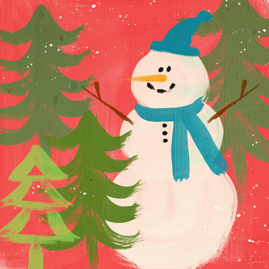Snowman In Blue Hat- Art By Linda Woods Painting