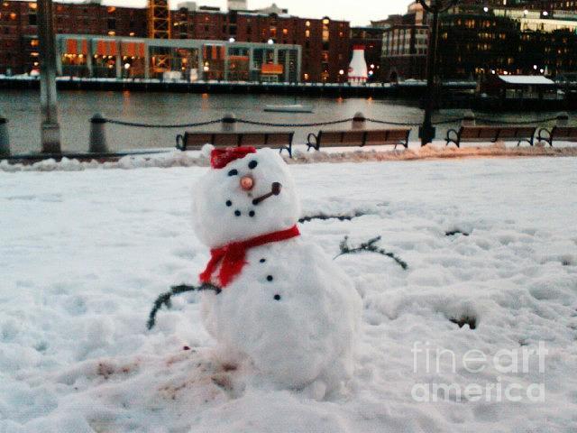 Snowman Photograph - Snowman in Boston by Dawn Wirth