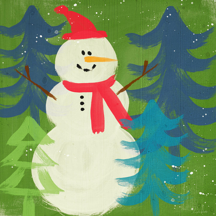 Snowman In Red Hat-art By Linda Woods Painting