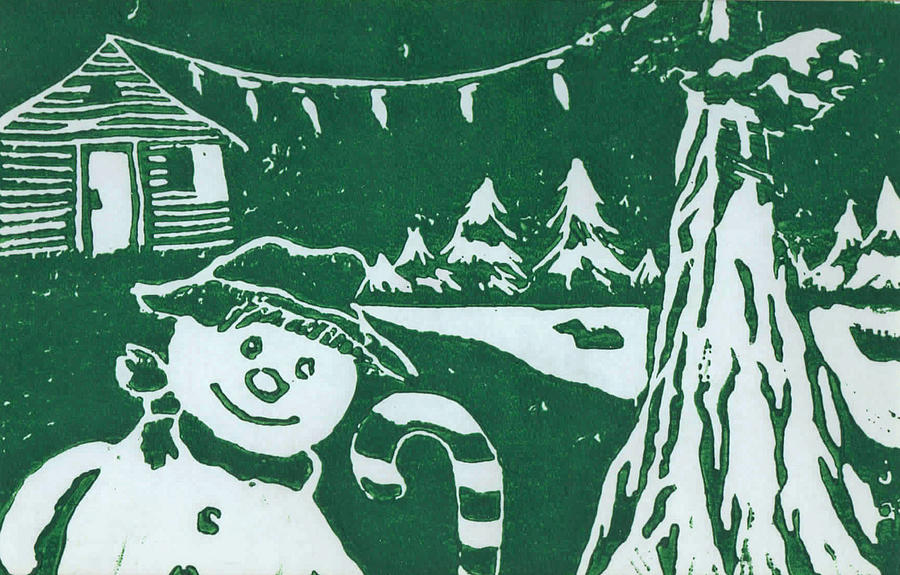 Landscape Mixed Media - Snowman In Sequoia by john Loest