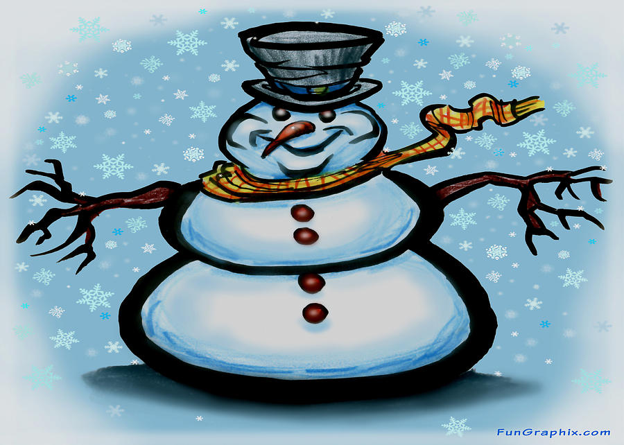 Snowman Greeting Card - Snowman by Kevin Middleton