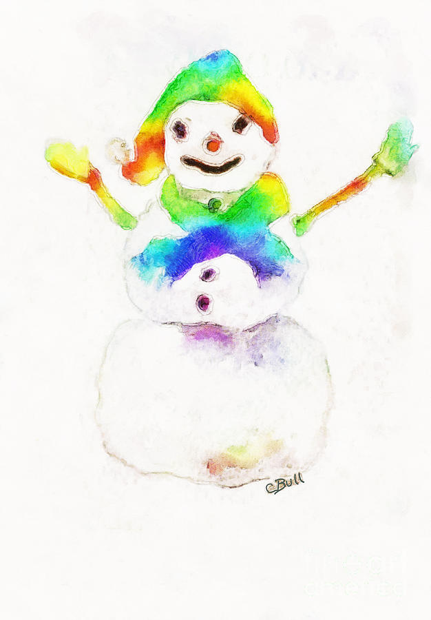 Snowman Painting - Snowman With Rainbow 1 by Claire Bull