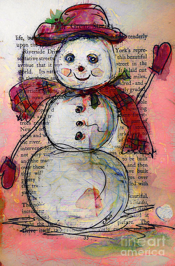 Snowman Painting - Snowman With Red Hat And Mistletoe by Claire Bull