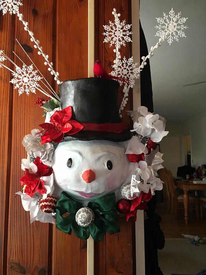 Snowman Wreath Sculpture By Michelle Thomann Ramirez