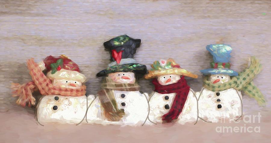 Snowmen All In A Row Photograph