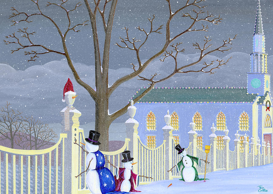 Snowman Painting - Snowmen In Vermont by Thomas Griffin