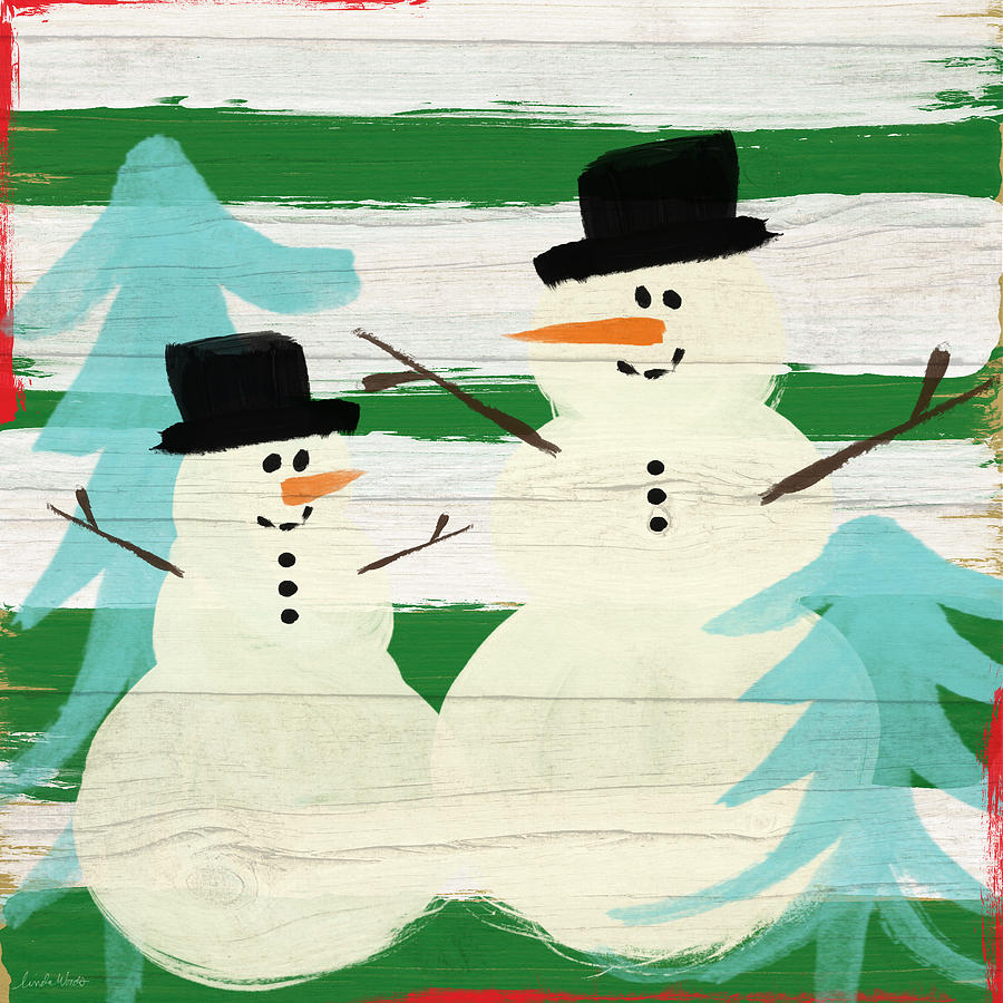 Snowmen With Blue Trees- Art By Linda Woods Painting