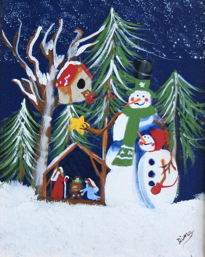 Painting Painting - Snowmen With Creche by Dina Jacobs