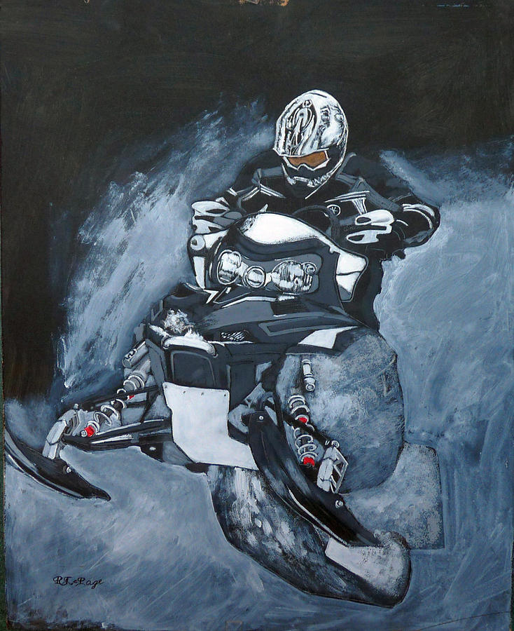 Snowmobile Painting by Richard Le Page