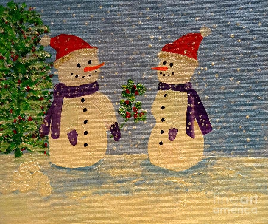 Snow-People at Christmas by Karen Jane Jones