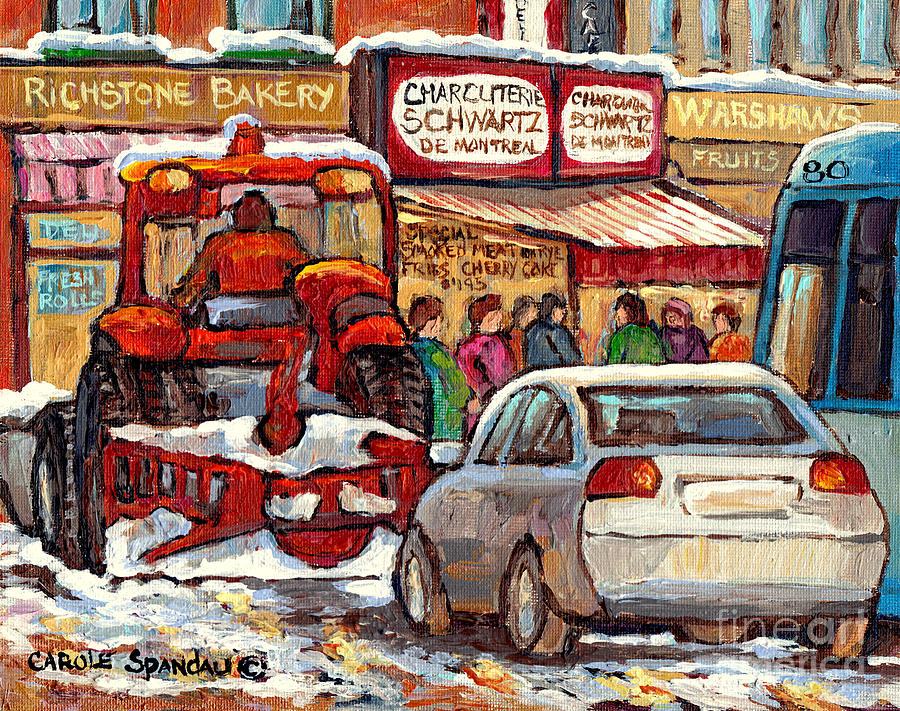 Montreal Painting - Snowplow Winter Scene Painting For Sale 80 Bus To Schwartz Deli C Spandau Richstone Warshaw Art      by Carole Spandau