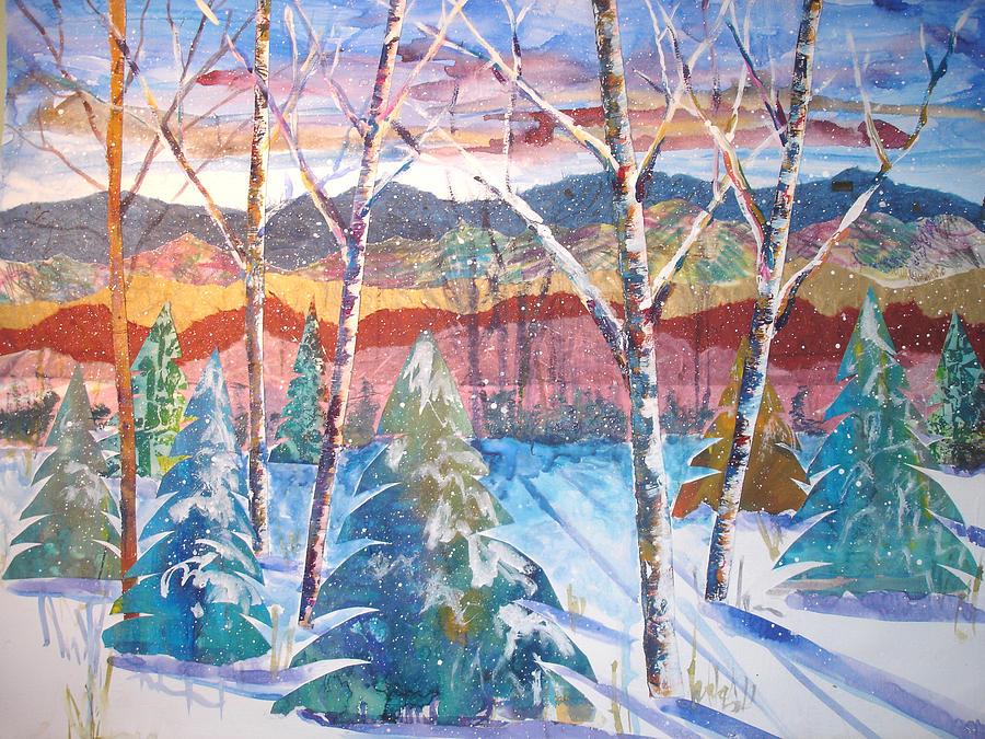 Landscape Mixed Media - snowy Afternoon by Joyce Kanyuk