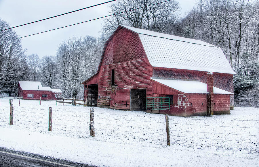 Snow Photograph - Snowy Barn by James Foshee