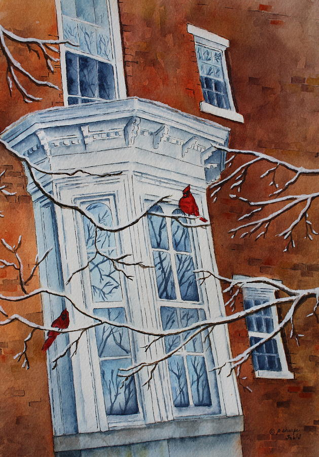 Architectural Landscape Painting - Snowy Bay by Patsy Sharpe