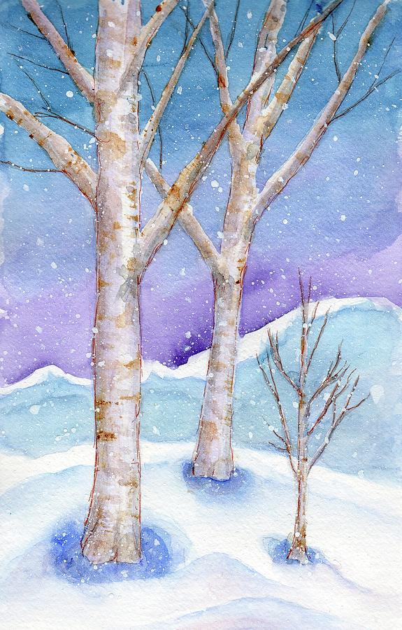 Snowy Birches by Elizabeth Oertel