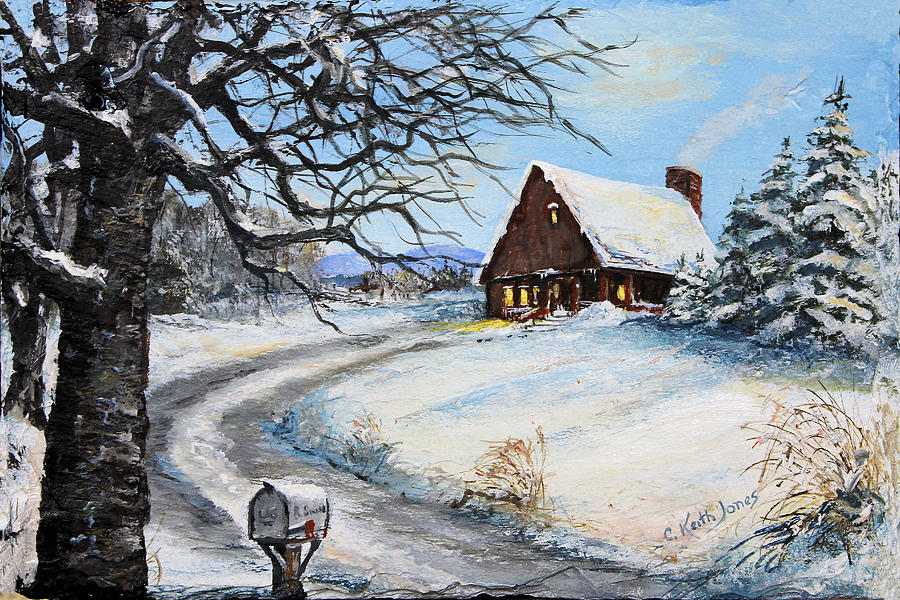Chalet Painting - Snowy Chalet by C Keith Jones