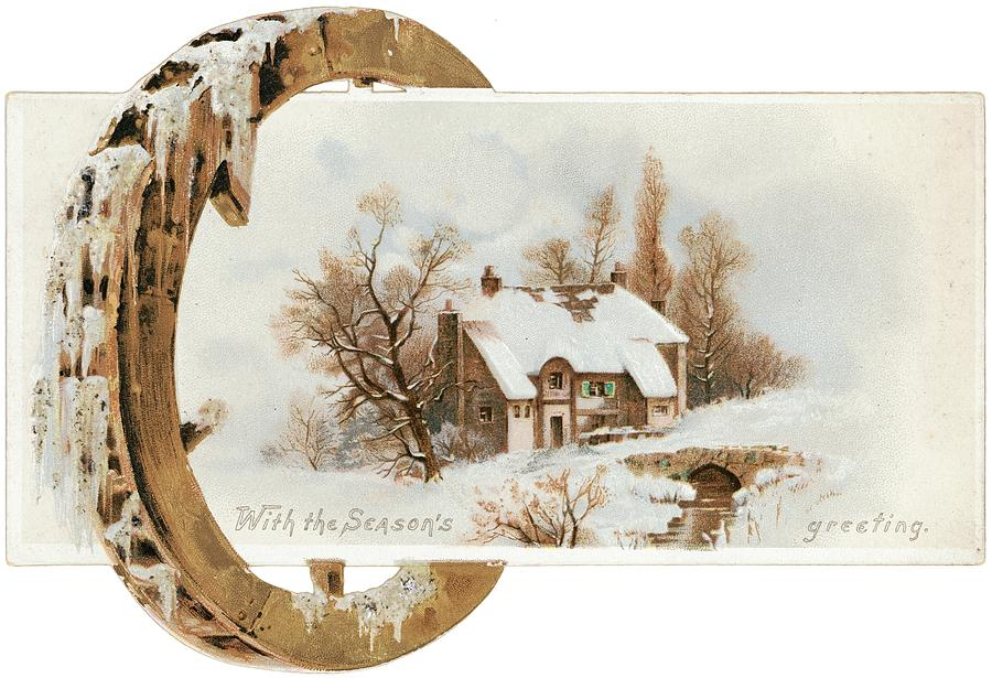 Bridge Photograph - Snowy Cottage Landscape With Wooden by Gillham Studios