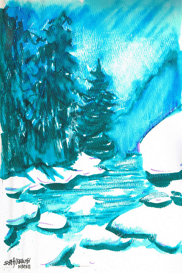 Chilling Mixed Media - Snowy Creek Banks by Seth Weaver