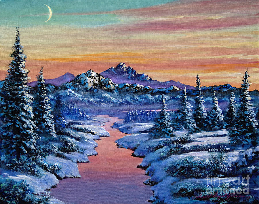 Rivers Painting - Snowy Creek by David Lloyd Glover