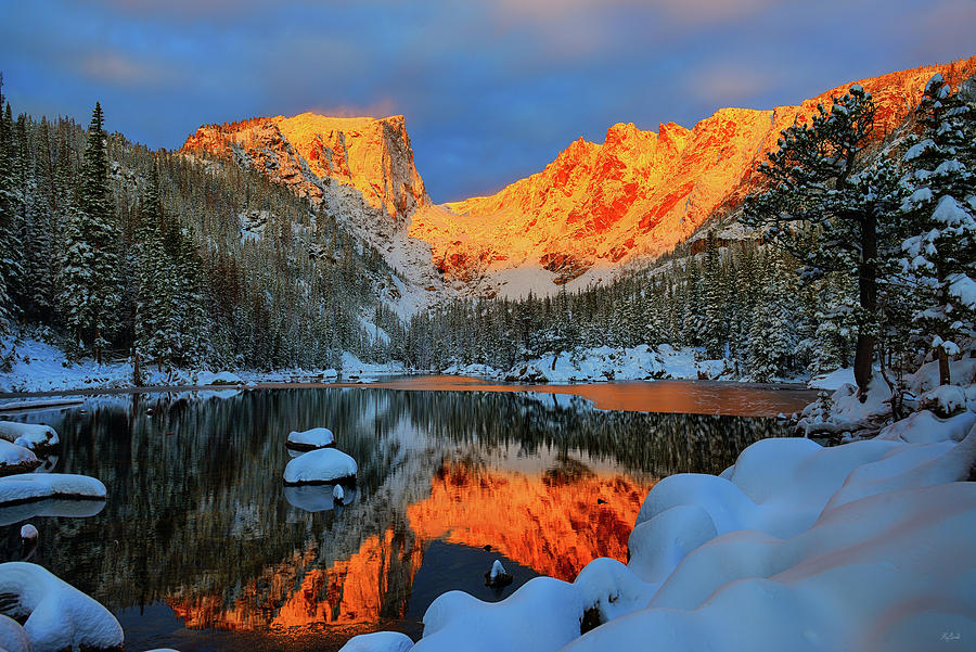 Snowy Dawn at Dream Lake by Greg Norrell