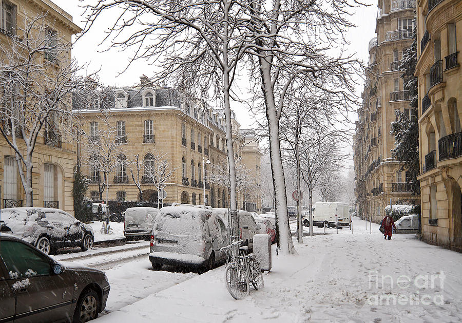 Bicycle Photograph - Snowy Day In Paris by Louise Heusinkveld